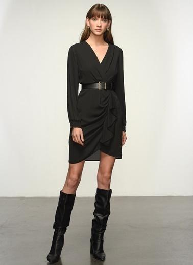 NGSTYLE Ngkaw20El0051 Kruvaze Yaka Krep Elbise Siyah